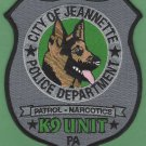 Jeanette Pennsylvania Police K-9 Unit Patch