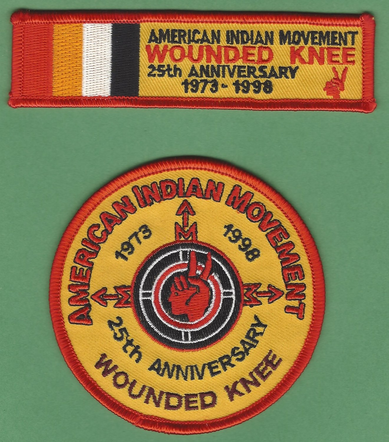"""AIM American Indian Movement """"Remember Wounded Knee"""" 25th Anniversary 2 Patch Set"""