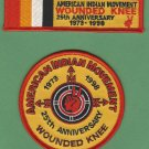 "AIM American Indian Movement ""Remember Wounded Knee"" 25th Anniversary 2 Patch Set"