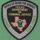 Texas Department of Criminal Justice Gang Task Force Police Patch