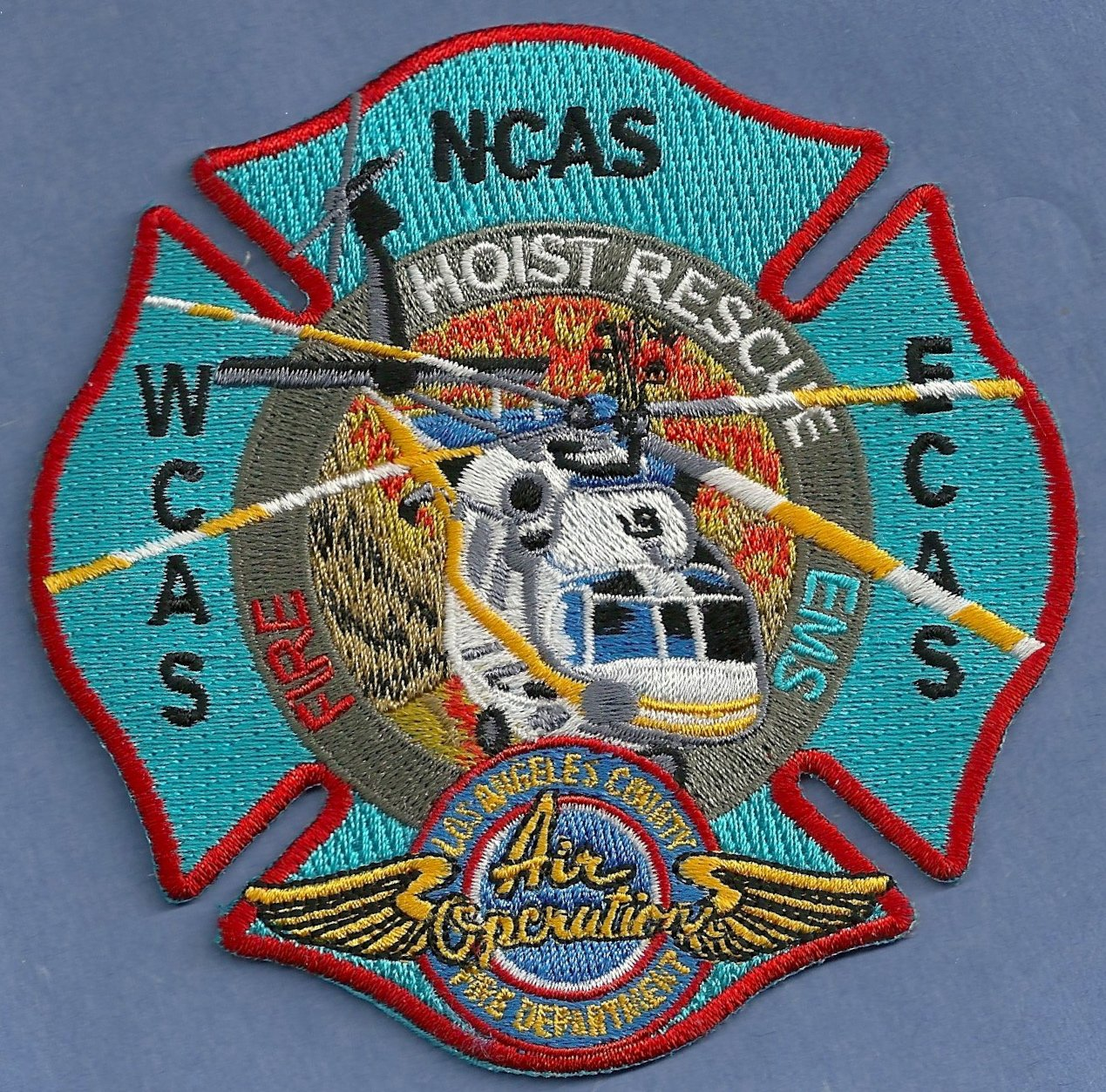 Los Angeles County California Hoist Rescue Helicopter Fire Patch