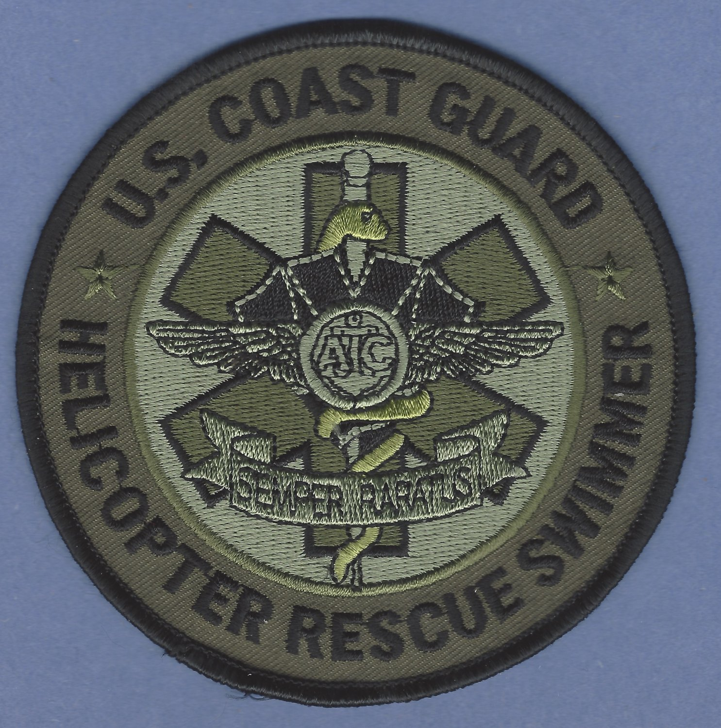 United States Coast Guard Helicopter Rescue Swimmer Patch Green