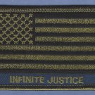 "American Flag Patch ""Infinite Justice"" Green 3"" X  2"""