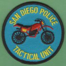 San Diego California Police Tactical Unit Patch Motorcycle