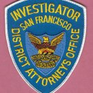 San Francisco California District Attorneys Office Investigator Patch