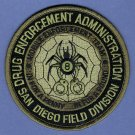 DEA San Diego California Field Division Police Patch Subdued
