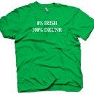 Funny 0% Irish 100% Drunk Party Drinking T-shirt. Size XL