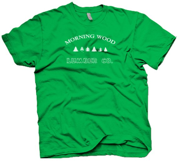 """Funny """"Morning Wood Lumber Co"""" T-Shirt.  Cool party shirt.  Size S"""