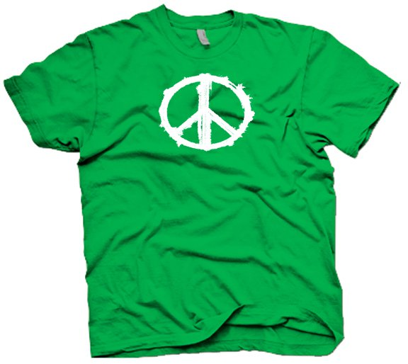 Grunge looking peace sign t-shirt.  Size XL