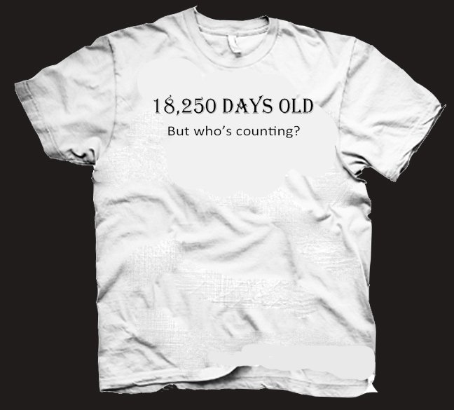 18,250 days old but who's counting t-shirt.  funny birthday 50 years old.  Size XL