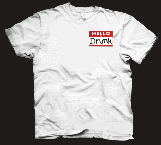 HELLO I'M DRUNK t-shirt.  Funny drinking beer alcohol shirt.  Size L