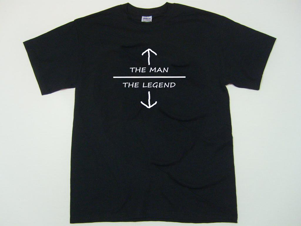 The Man The Legend t-shirt.  Funny adult humor college party.  Size L