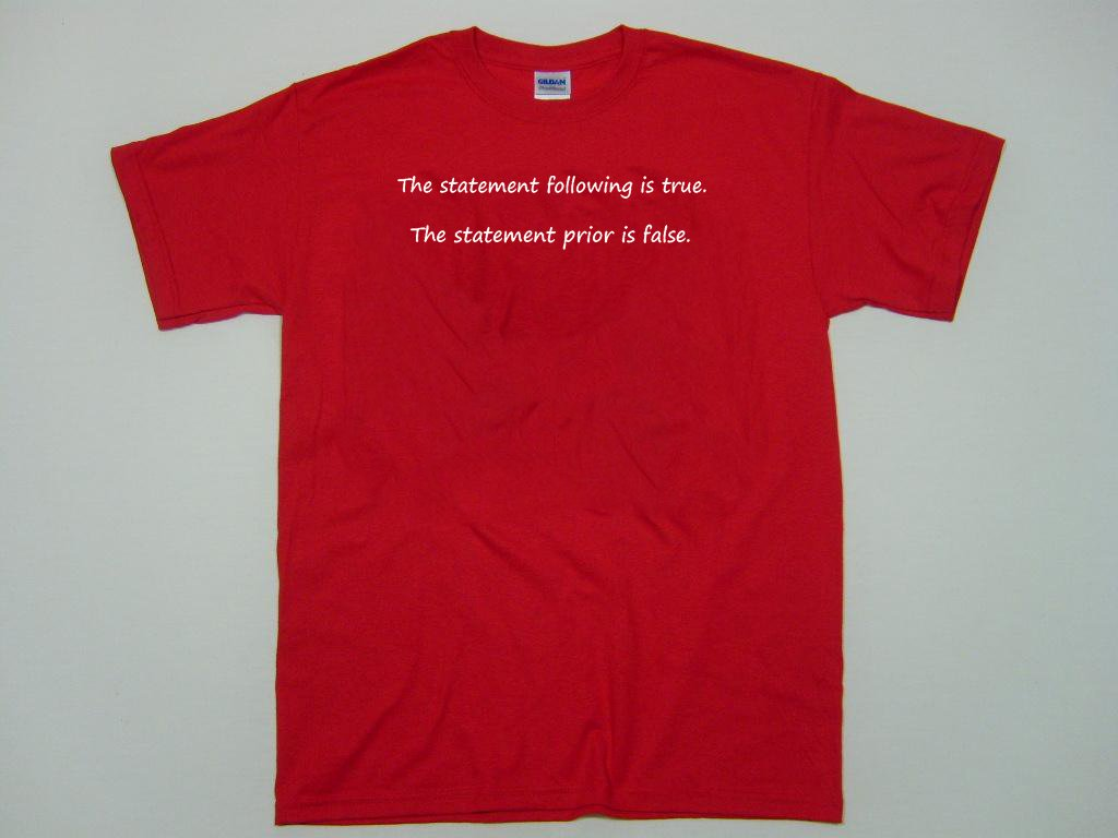 The statement following is true the statement prior is false.  funny t-shirt.  Size S