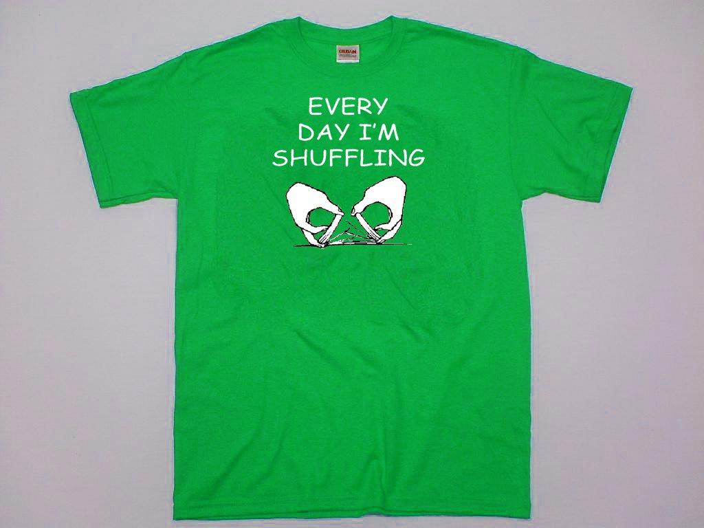 Every Day I'm Shuffling.  Funny poker blackjack card dealer shirt. Size XL