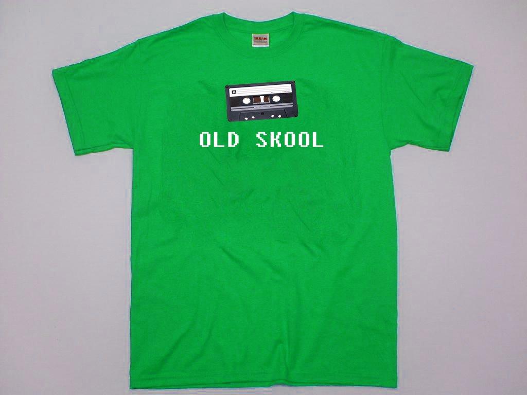 Old Skool Cassette t-shirt.  Retro looking cassette tape shirt. Size S