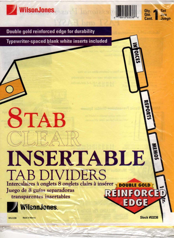 Wilson Jones 8 Tab Clear Insertable Tab Dividers, Gold Line Single Reinforced