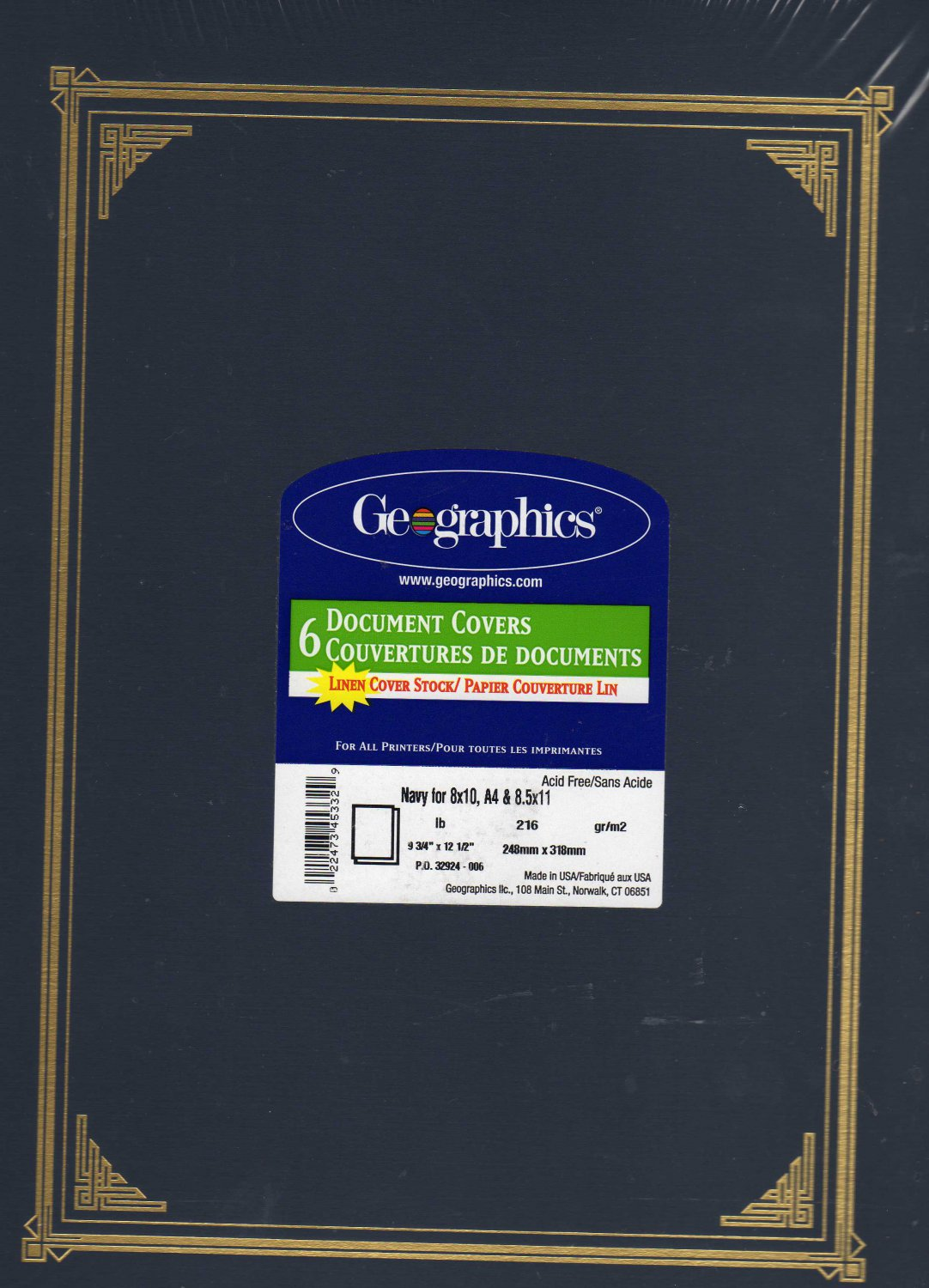 Geographics Certificate/Document Cover, Linen Stock, 12 1/2 x 9 3/4, Navy Blue, Six per Pack
