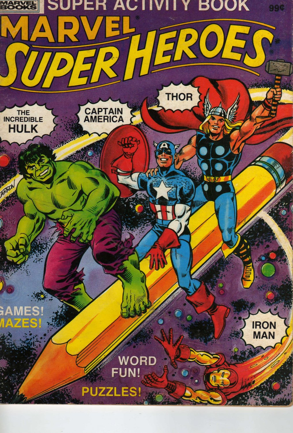 Marvel Super Heroes Activity Book MAZES, PUZZLES, WORD FINDS by Owen McCarron (Paperback - 1983)