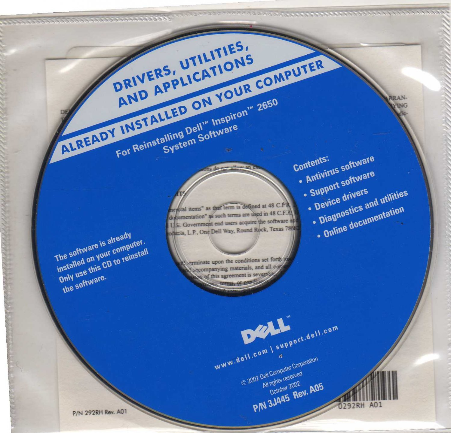 DELL DRIVERS AND UTILITIES CD: For Reinstalling Dell Inspiron 2650 System Software