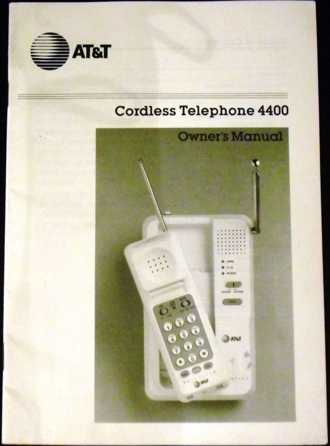 AT&T Cordless Telephone 4400 Owner's Manual 1985