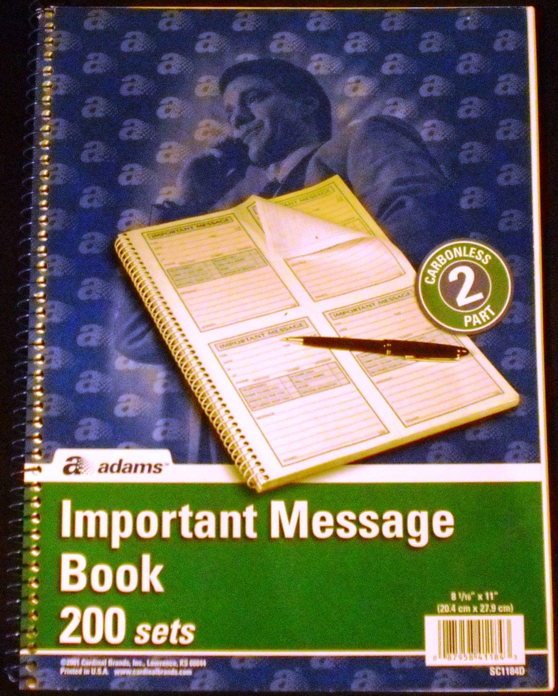 Adams Important Message Book, Spiral, 2-Part, Carbonless 200 Sets