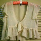 DIVIDED by H&M Hand Sewn Sequined Ruffled Shrug, Blouse, Nude, Size 40/6