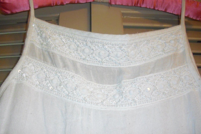 Stunning NWT Lilly Pulitzer Beaded Resort White Strappy Linen Elm Sundress