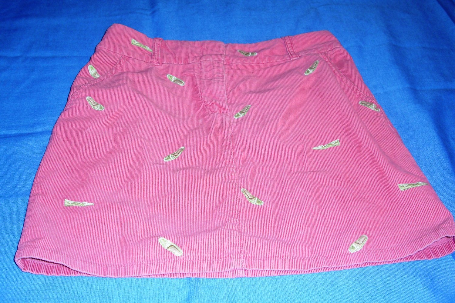 Preppy J. Crew Pink Corduroy Critter Mini Skirt with Shoes Loafers Size 2