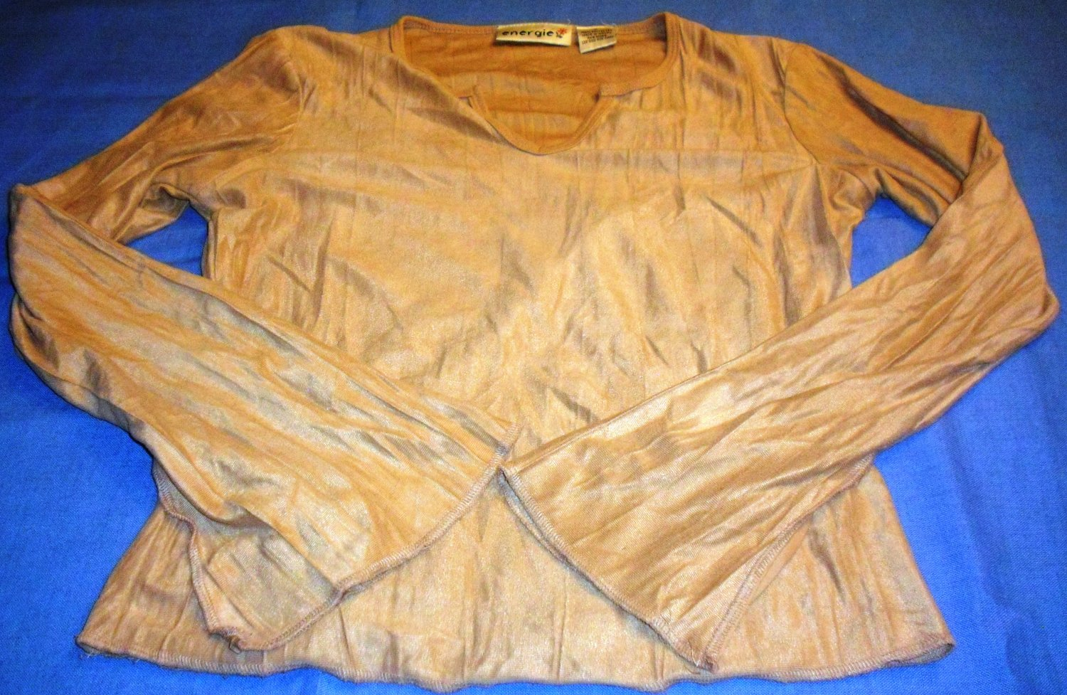 Energie Tan Long Sleeved V neck Shirt Size Medium