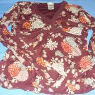 Womens Old Navy Perfect Fit Burgundy, flowers top shirt long sleeve, size small
