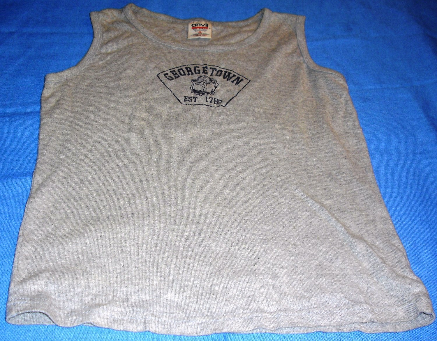 Georgetown Hoyas Gray Womens Bulldog logo Tank Top T Shirt Fitted Small
