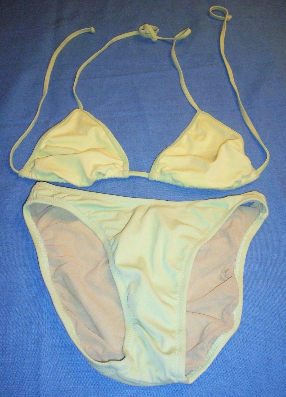 J Crew Swimwear String Bikini top size large, Bottom Bathing Suit- size S Green