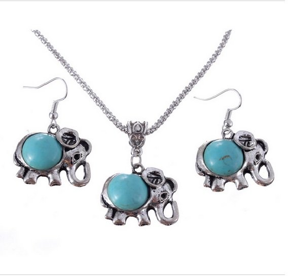 Womens Elephant Turquoise Bead Tibet Silver Necklace Earring Set. Ships from US