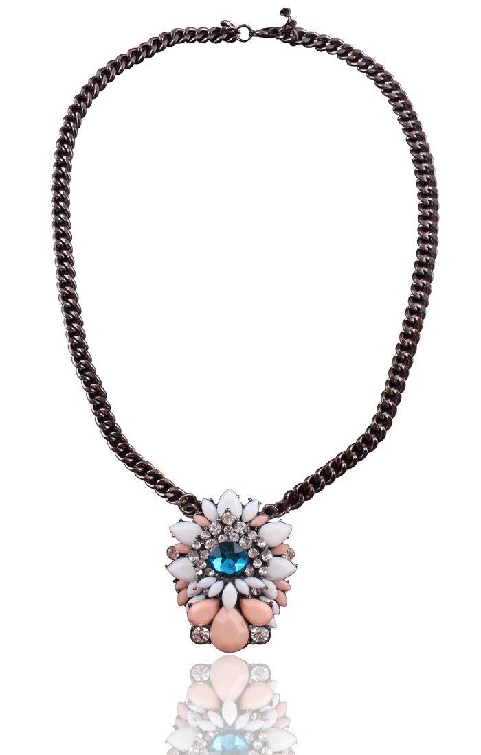 Womens Acrylic Multi-color Bib Statement Crystal Co.llar Necklace - Pink