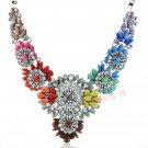 Womens Acrylic Pearl Rainbow Bib Statement Crystal Collar Necklace