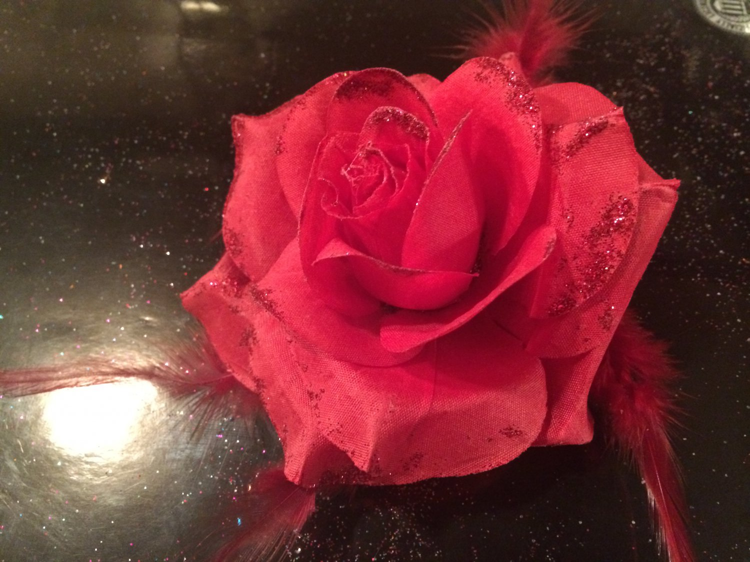 Glitter Feather Flower Hair Bow Clip Brooch Pin - Bright Red