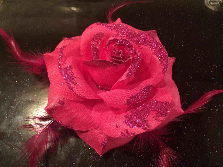 Glitter Feather Flower Hair Bow Clip Brooch Pin - Dark Pink