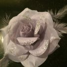 Glitter Feather Flower Hair Bow Clip Brooch Pin - Gray