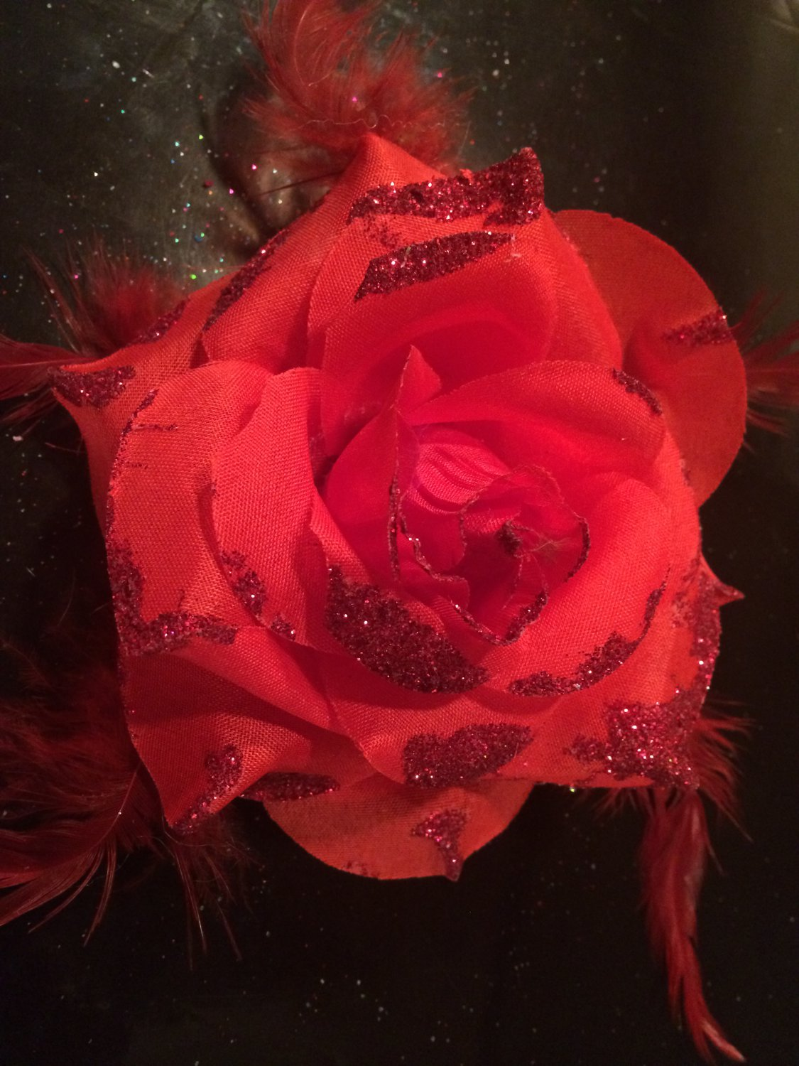Glitter Feather Flower Hair Bow Clip Brooch Pin - Red