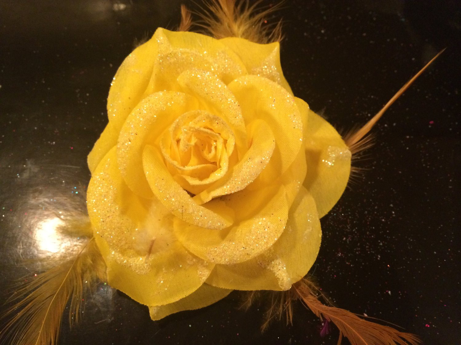 Glitter Feather Flower Hair Bow Clip Brooch Pin - Yellow