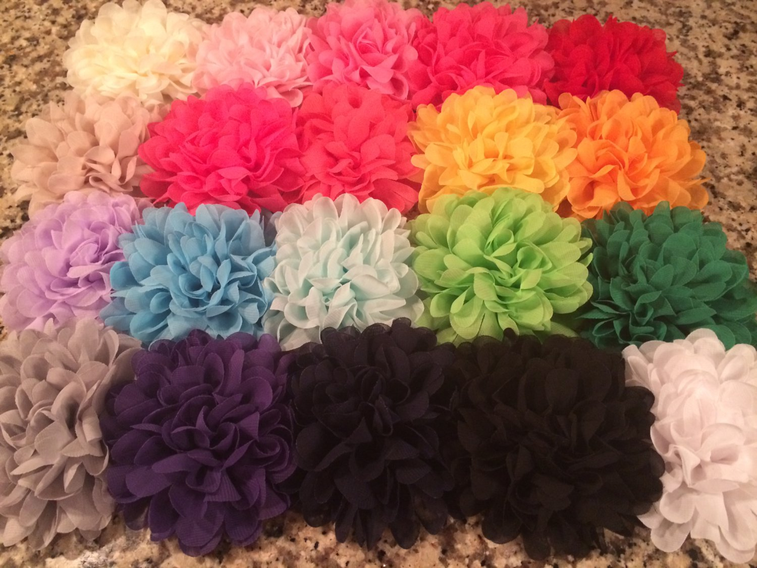Chiffon Flower Set of 8 - DIY, Craft, bow, headband