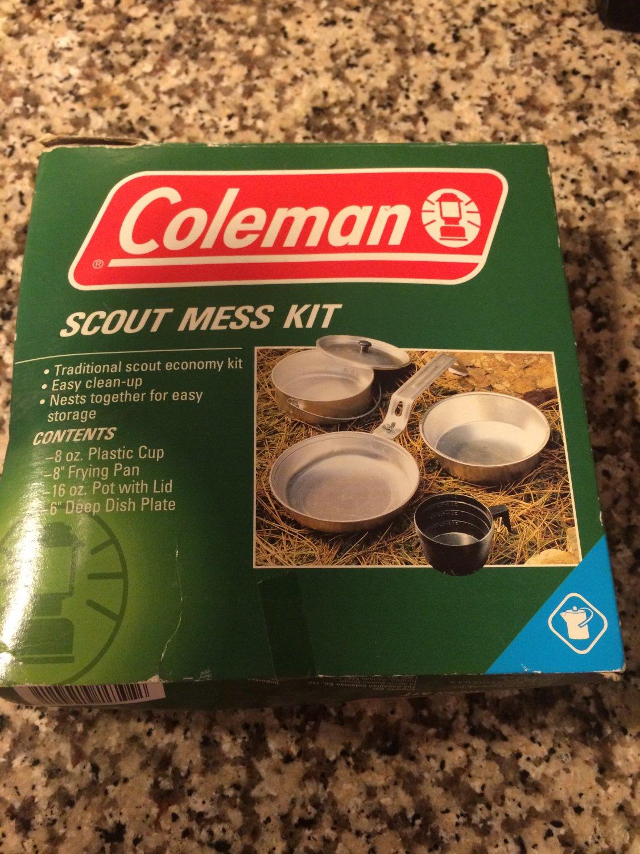 Coleman 5 Piece Aluminum Mess Kit Camping Scouts Cup, Pan, Pot & Plate