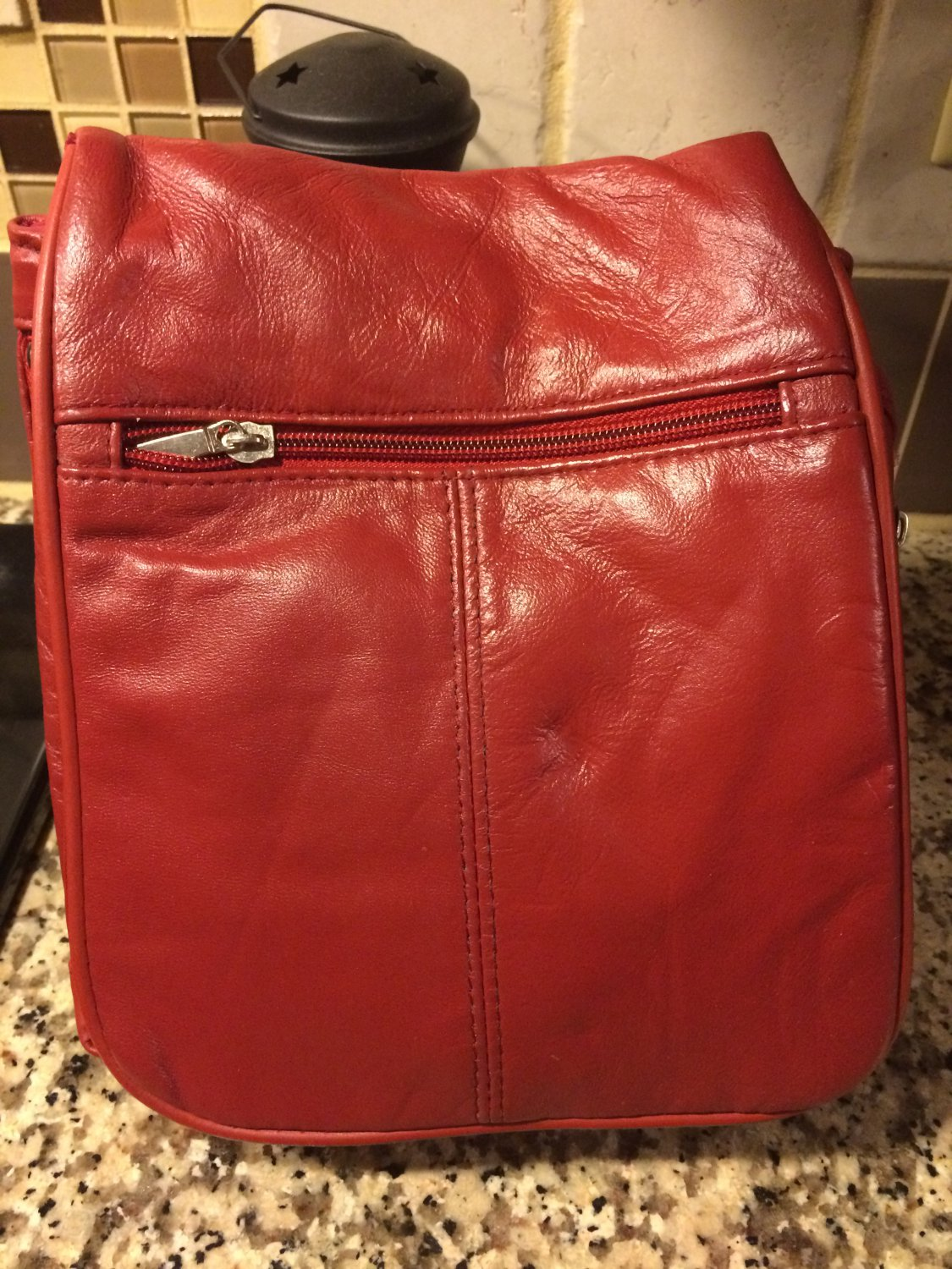 New ~ BUXTON Travel Bag Organizer Cross body Expandable Bag Purse  - Leather Red