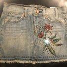 Grane Women's Jr Sz 0 Distressed Fringed Studded Embellished Pocket Jean/Denim Mini Skirt