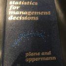 Statistics for management decisions (Hardcover) by Donald R Plane (Author)
