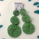 African Kenyan Masai earrings Green Bead Discs