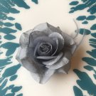 Glitter Feather Flower Hair Bow Clip Brooch Pin - Grey