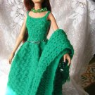 Kelly Green Chrochet Dress For Barbie With Shawl