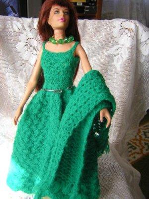 Kelly Green Chrochet Dress For Barbie With Shawl