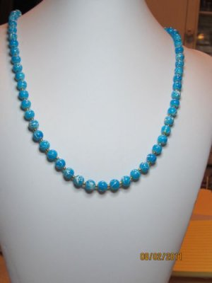 26  Inch Handcrafted Beaded Necklace. Blue Round Beads